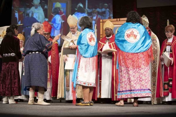 Native American church leaders offer a traditional blessing during the consecration of Arizona Bishop Jennifer Reddall on March 12. Photo: David Schacher, via Diocese of Arizona